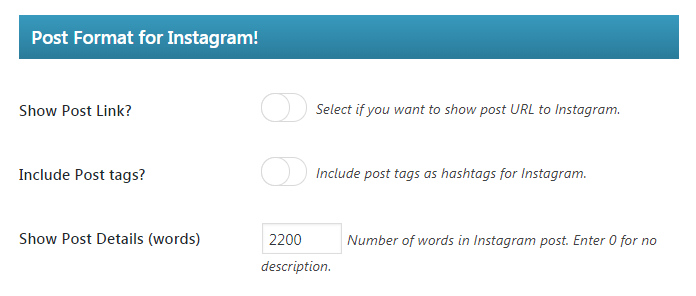 The WP Instagram Post and Widget plugin's other settings.
